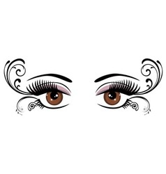 eyes floral brown vector image vector image