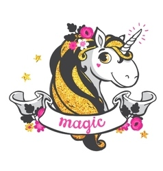 Gold Unicorn vector image