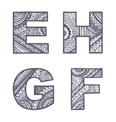 letters set e-h vector image vector image