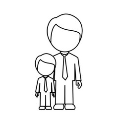 silhouette man with his son icon vector image vector image