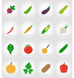 vegetables flat icons 17 vector image