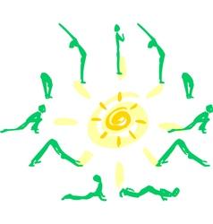 Yoga sequence Sun Salutation vector image vector image
