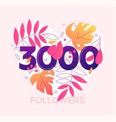 3000 followers banner - modern flat design style vector