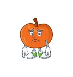 Afraid tangerine cartoon mascot on white vector