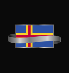 Aland flag ribbon banner design vector