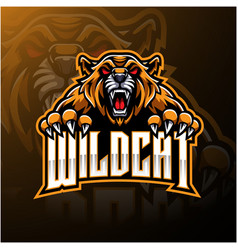 angry wildcat face mascot logo design vector image