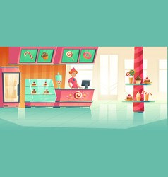 Bakery and candy shop interior with cashier vector