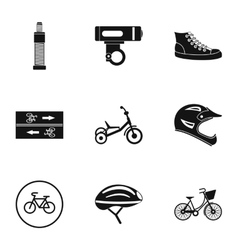 Bicycle parts icons set simple style vector image