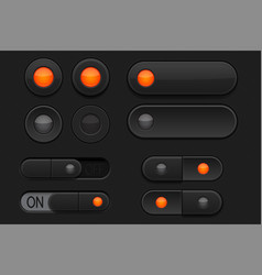 Black 3d buttons - sliders and radio buttons vector