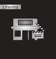 black and white style icon building cinema vector image