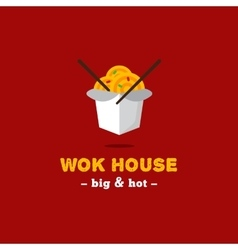 bright wok box chineese cafe logo Brand vector image