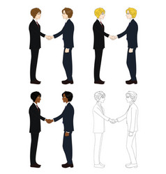 Business two men hand shake vector