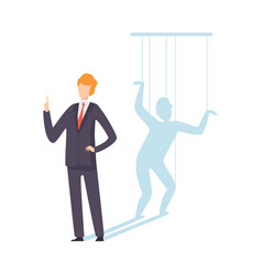 businessman marionette controlled ropes vector image