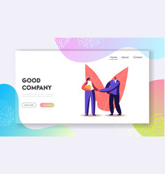 Businessman shake hand to recruit landing page vector
