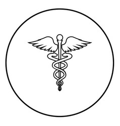 caduceus health symbol asclepiuss wand icon black vector image