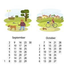 Calendar 2018 september october vector