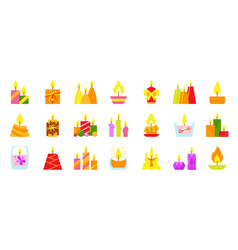 Candle burning flame light flame icons set vector