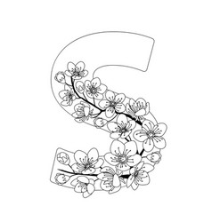 Capital letter s patterned with contour drawn vector