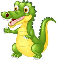 cartoon adorable crocodile posing vector image