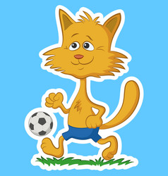 cartoon cat with soccer ball vector image