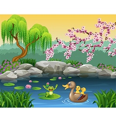 Cartoon funny mother duck with frog on the lily wa vector