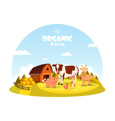 Cattle and farm animals at farm paddock vector