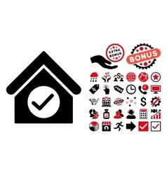 Check Building Flat Icon with Bonus vector image