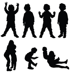 children set silhouette vector image
