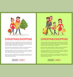 christmas shopping poster merry couple xmas tree vector image