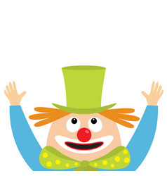Clown face head looking up big eyes red nose vector