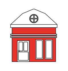 Color silhouette cartoon red facade small house vector