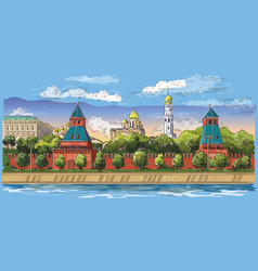 colorful hand drawing moscow-5 vector image
