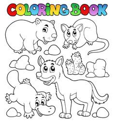 Coloring book australian fauna 1 vector