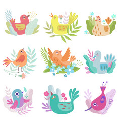 cute colorful little nesting birds set symbols of vector image