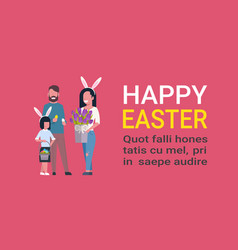 Cute family at happy easter holiday parents vector