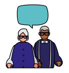 Cute grandparents couple interracial talking vector