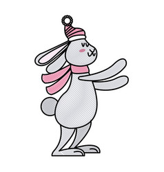 cute rabbit with scarf winter christmas image vector image