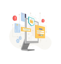 cybersecurity concept screen data security icons vector image