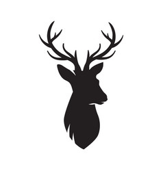 deer head silhouette deer icon isolated vector image