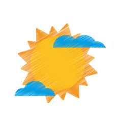 Drawing sun cloud weather image vector