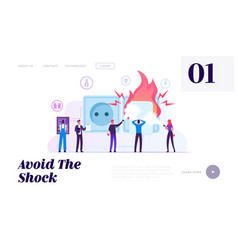 Electrical safety website landing page vector