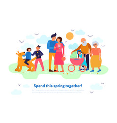 Family spring flat composition vector