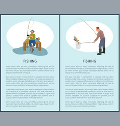 Fishing posters set and titles vector