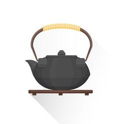 Flat asian tea iron kettle icon vector