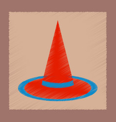 Flat shading style icon halloween witch hat vector