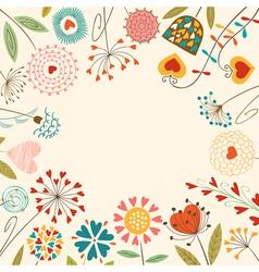 Floral hearts card vector