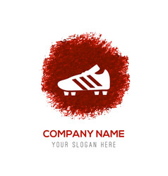 Football boot icon - red watercolor circle splash vector