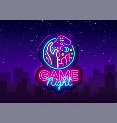 game night neon sign logo design template vector image