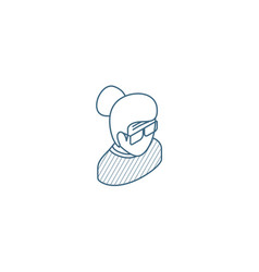 Granny avatar old woman isometric icon 3d line vector