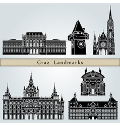 Graz landmarks and monuments vector